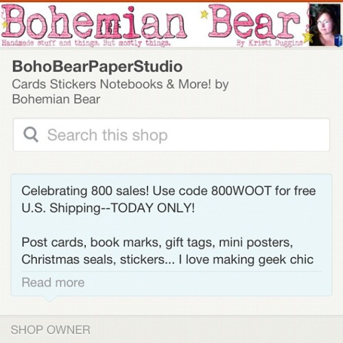 Bohobearpaperstudio.Etsy.com #sale today only! 4 more hours! (Taken with Instagram)