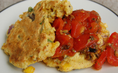 veganfeast:  Summer Corn Cakes and Salsa (Vegan) by Mr. Tender Branson on Flickr. yum!