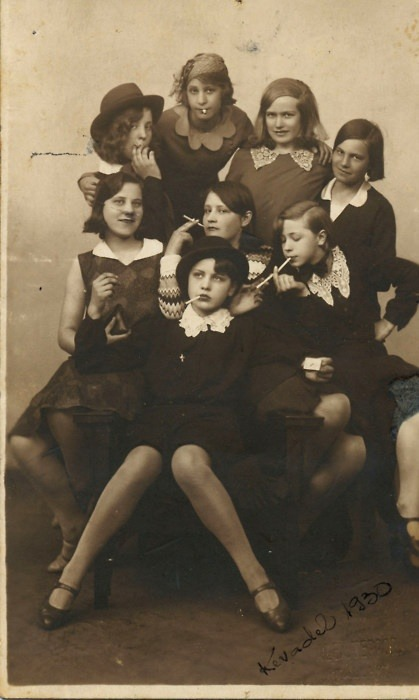 cyprith:  basedgaben:  garconniere:  tothecabaret:  1930's Teen Delinquents  i.e. life role models  I'm just gonna reblog this again because it's one of my favorite pictures ever. That girl in the chair seems like such a badass I bet she was the leader of the crew.  I want to write about these girls.  @magpiewhale, I sense a sequel to your Girl Shots of Drexel.