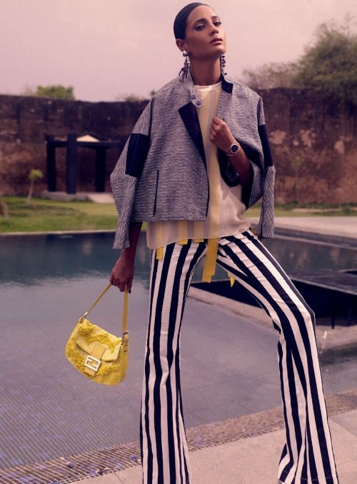 love the striped trousers - Rikki Chatterjee, Photographed by Nat Prakobsantisuk for Harper's Bazaar India - July/August 2012