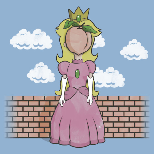 "kentzonestar:  ""The Princess of Peach"" based on the painting ""The Son of Man"" by magritte. Click to buy at Redbubble!"
