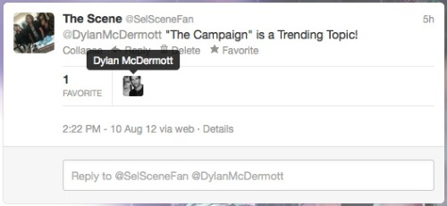 "Has nothing to do with Selena & The Scene, but actor Dylan McDermott ""favorited"" our tweet! He will be co-staring with Selena Gomez in ""Parental Guidance Suggested"". Ahhhh! He's hot. LOL! Follow us on Twitter! @SelSceneFan"