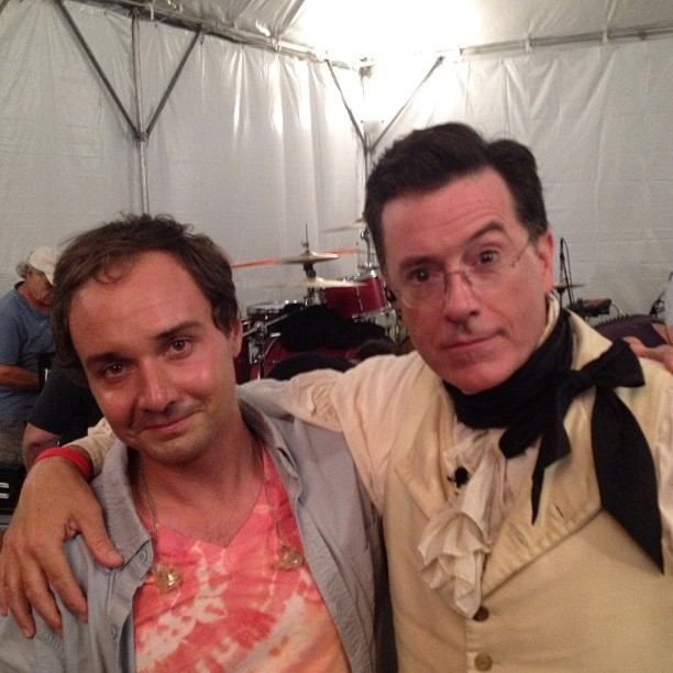 Daniel Rossen & Stephen Colbert backstage at Colbchella!