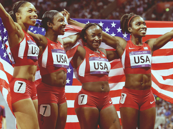 Allyson Felix, Carmelita Jeter ,Bianca Knight , and Tianna Madison win gold and set a new world record of 40.82 at the Women's 4 x 100m Relay Final today