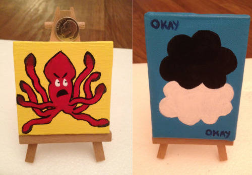 I have started dabbling in painting!  Here are two nerdfighter related paintings that I have done :)  (They are on my etsy of you like them so much that you want to own them)