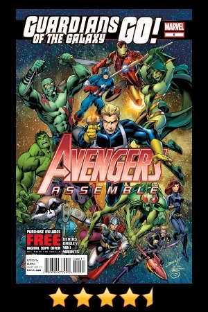 "Avengers Assemble #6 Recommended! This issue starts out much like the first, large group shots of nearly all of the current roster Avengers… you realize what a giant team the Avengers really is - over the years they have amassed quite a crew. Attempting to control this crowd, Maria Hill is has called an assembly to brief all currently earth-bound Avengers on what is going on - but in true S.H.I.E.L.D form, she is leaving out all the ""good parts"". Suddenly a live sub-space transmission is received from Tony, who immediately spills the beans. It was a perfect use of his brazen, rule breaking attitude, and really expressed the urgency of the matter at hand - a significant pending Cosmic Level Event. It was good to see Reed and Sue Richards in the crowd with the Avengers, if there are cosmic threats afoot, they should be front and center. I don't necessarily agree with how Tony is currently leveraging Reed, but this is an Avengers book after all… The art is good, consistent and still a great fit for the tone and flow of the book. Some panels and characters look better than others, but the style is not distracting and overall nice to look at. I ""lol'd"" multiple times throughout the issue, as it contains a decent amount of levity - especially where the Guardians of the Galaxy are concerned, more specifically Rocket Raccoon. His comment about ""Egg McMuffins"" gave me quite the chuckle. Thanos' plan is still unclear, but then again, when is it ever clear to the reader? If it was, it wouldn't be his actual plan. There were some really nice battle scenes between the Avengers and the Badoon. I will not spoil the surprise that Tony had in store for the climax of that battle, but suffice to say, it was clever and refreshingly unique. We are left with an interesting cliffhanger for our heroes - we all know they will do just fine, but it will be interesting to see what trick Bendis pulls out of his marvel cosmic hat to bring the story back from the edge. The last page of panels is dedicated to Thanos and his new ""toy"". It was a nice tribute to the character and what he is all about - solitude and scheming. Next Issue: THANOS RULES! (see ad here) —— Follow @thanosrules on Twitter for more thanosrules Quick Reviews (#trqr) and listen to Stacks of Comics (@stacksofcomics) for all (okay, some of) your Comic Podcast needs!"