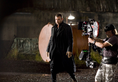 Liev Schreiber on the set of X-Men Origins: Wolverine, directed by Gavin Hood, 2009.