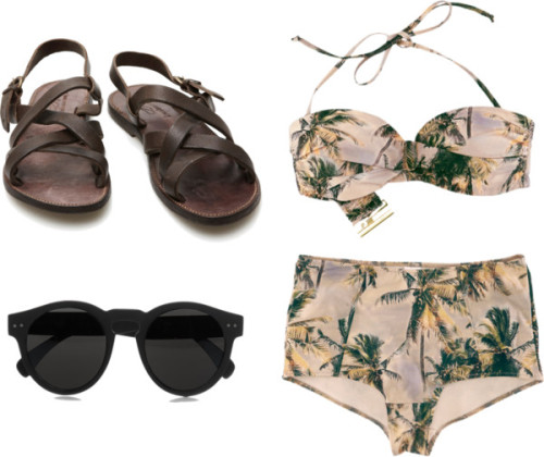 miel-doux:  chill by h-oney featuring leather strappy sandals H&M bikini swimwear, $39 / The Last conspiracy leather strappy sandals, $120 / Illesteva Leonard round-frame matte-acetate sunglasses
