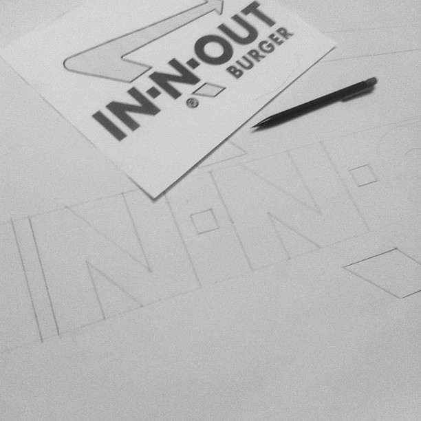 Drawing logos to scale. I'm so glad in-n-out resides in Nrthn Az. (Taken with Instagram)
