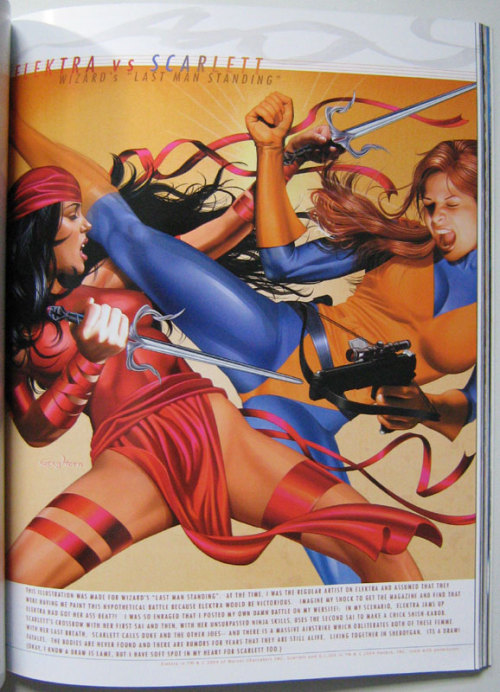 eschergirls:  acey submitted:  Not sure what Scarlet and Elektra are doing here… but I don't think it's fighting…  It's interesting that there's a slightly different version on the Marvel database which, presumably, was what Marvel ended up publishing (the picture above is from a Greg Horn artbook).  I wonder if somebody thought it was just a LITTLE too obvious what Horn was tracing from in the original and asked him to change it.   Among the many, many problems here, this perfectly illustrates why NOT to trace your poses from cobbled together photo sources (especially porn when what you're drawing isn't porn; poor Elektra looks like she's falling the fuck over, and the yonic fabric folds right above her pubic bone are so gratuitous it's just sad).  Namely, it's really fucking obvious to spot.  Like so:   My guess is that the woman in the original photo was mostly lying down and bracing all of her right elbow, which would have left her hand nowhere near the right position Horn needed to stab Shadowcat in the crotch.  But instead of redrawing the whole shoulder, he left her upper arm bent back behind her and just pasted a giant forearm (that's much larger and more muscular than her left) where he he thought it looked okay and to hell with perspective and correcting for differences in lighting between the two source photos.
