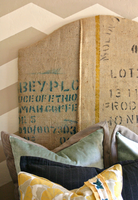 Coffee-related reuse, continued: Coffee sacks upcycled into a headboard. Via me and jilly, which provides how-to DIY info. (Note: That blog post mentions using spray adhesive to attach batting to a base; I'd be inclined to use hot glue instead.)
