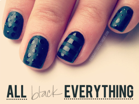 DIY Shiny and Matte Black Nail Art Tutorial from The Beauty Department here. Photo by Kristin Ess.
