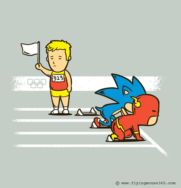 justinrampage:  Sonic and The Flash are tearing it up at the London 2012 Olympics. This is Tumblr artist Chow Hon Lam's second piece for his new Olympic / video game mash up series. You should also check out his first illustration, No Hadooken. Surrender by Chow Hon Lam (Flickr) (Etsy) (Facebook) (Twitter) Via: flyingmouse365