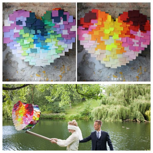 DIY Easy Post-It Heart Piñata Tutorial from Brooklyn Bride here. This piñata isn't made of actual post-it notes (they didn't stick well), but the size of the paper squares are the the same. Also the heart is made out of cardboard. Plus I like pinatas ever since I made my own when I lived in Germany. First seen at More Design Please here. Photography by Amanda Thomsen and DIY steps by Brittany Watson Jepsen. For more pinata tutorials (and even a roundup of six of them) go here: truebluemeandyou.tumblr.com/tagged/pinata