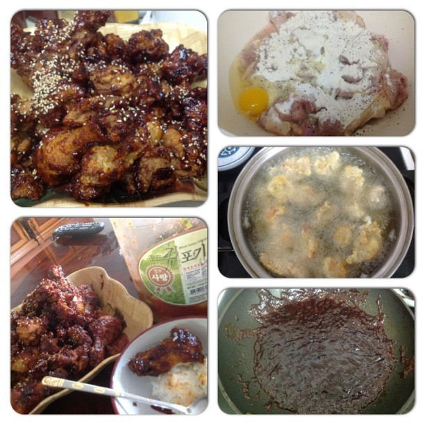 Today's #menu is #Korean #Sweet and #Spicy #Fried #Chicken #양념치킨 ㅎㅎ it came out very delicious but little too sweet ㅠㅜ cooked it in one hour ^^ nak's cooking level up+ ㅋㅋ (Taken with Instagram)