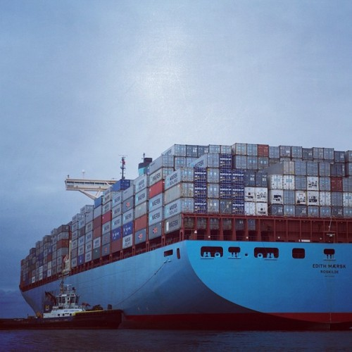 The world's largest container ship Edith Maersk… and a tugboat. (Taken with Instagram)