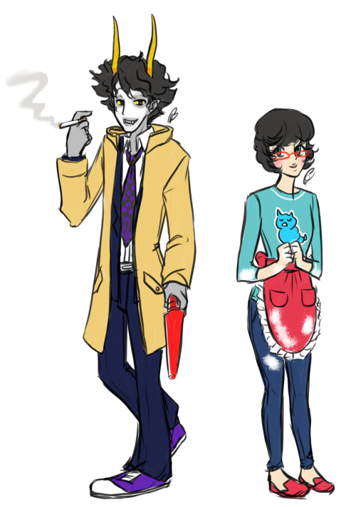 Shin Megami Tensei: Homestuck 4 Young Detective Gamzee and Big Sister Jane  Yeah. Gamzee is young detective, Adachi. But not really…..or really….no one knows…. He's also the Devil arcana. It….It just fits. It fits so well.  As for Jane, I decided that she would be John's big sister in this AU. She's currently going to culinary school and is an apprentice baker. I haven't decided if she should be a social link yet or not. She develops a big crush on Young Detective Gamzee and often makes him bentos and pie.  (///U v U) I'm going to bed now.