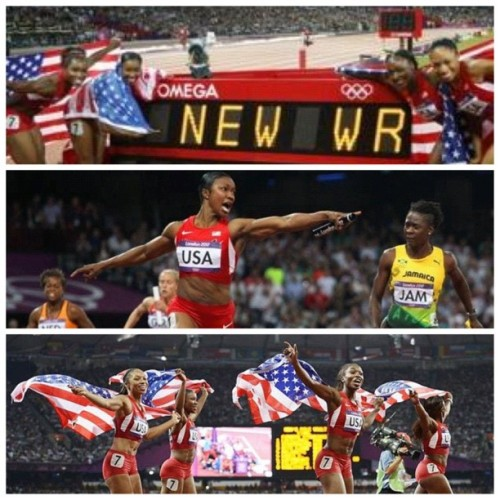 Team Philthy is so excited for the USA Women 4 x 100 relay team.   New world record Goooooo Carmelita Jeter!!!  #teamusa #olympics #gold #worldrecord  (Taken with Instagram)