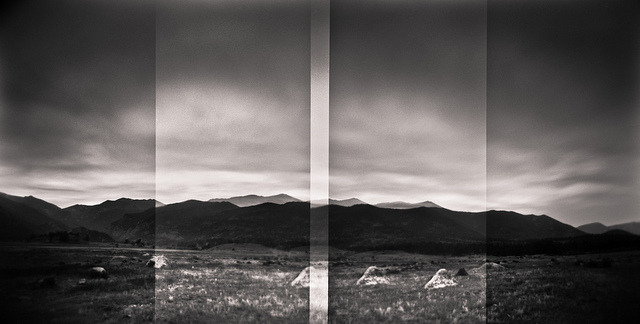 Dusk over the Mountains on Flickr.Holga 120N | Fuji Acros 100 | Rodinal (1:50) | Post in LR3 This is a three-shot holgarama, each frame is approximately a one minute exposure (it was pretty damn dark out).
