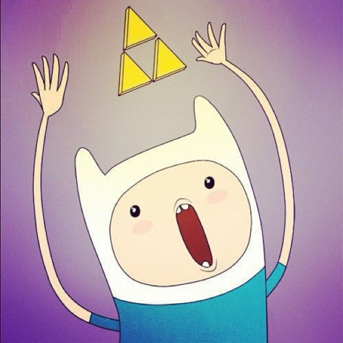 listenrealmusic:  Best AT image ever! #AT #Cartoon #AdventureTime #Zelda #TheLegendOfZelda #Triforce #Trifuerza #Finn #Epic (Tomada con Instagram)