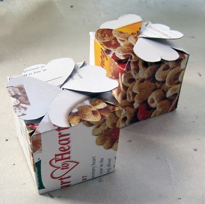 "Ideas for what to do with empty cereal boxes, continued: Fold them into … other boxes! The ""new"" boxes could be used for gift-giving, or keep them to store your own small things.   To DIY, click through to the sources for tutorials: Top: Stuff You Can't Have blog. Center: Instructables. Bottom: Evil Mad Scientist."