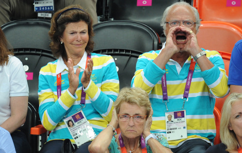 "The Swedish king gets a bit excited during the Olympics (the Swedish queen is the embarassed woman clapping her hands next to his highness) - ""GAAAAAAAAAAAAAAAAAAAAY!"""