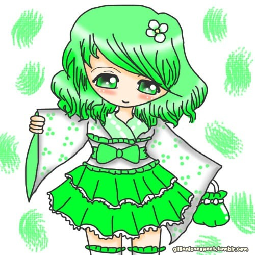 Wa Lolita :D Green Hair and Eyes to make it more different than my normal doodles :D I really love how I drew hair :D