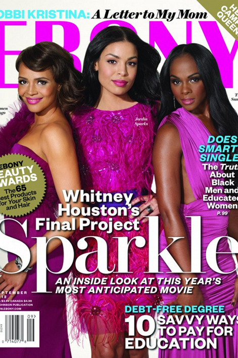 blackfashion:  The cast of Sparkle Carmen Ejogo, Jordin Sparks & Tika Sumpter sparkle in their pink gowns for their upcoming cover and spread ofEBONY magazine.