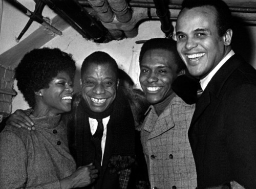 "Cicely Tyson, James Baldwin, Arthur Mitchell (dancer and founder,Dance Theatre of Harlem) and Harry Belafonte attend the ""To Be Young, Gifted And Black"" gala on January 2, 1969 at the Cherry Lane Theater in New York City. Photo by Ron Galella, Ltd./WireImage."