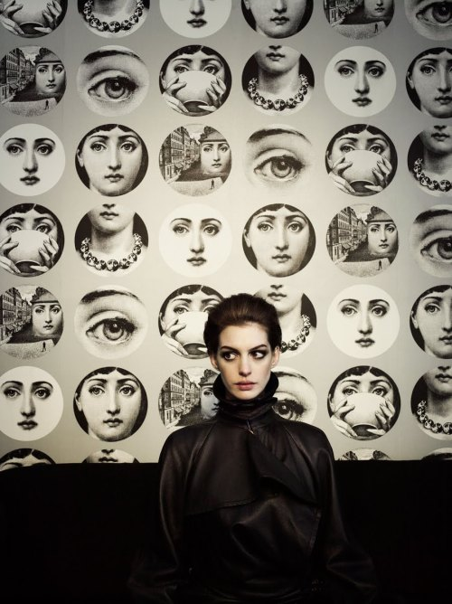 suicideblonde:  Anne Hathaway with prints by Italian artist Fornasetti