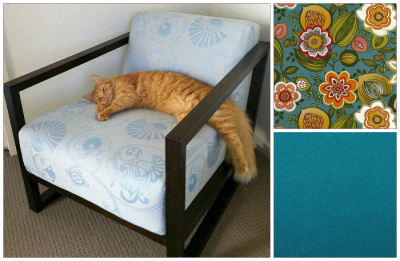 I bought this great chair earlier this year (my reading chair) however I don't like the upholstery, even though my kitty Cosmo thinks it pretty good! That is why I bought it so cheaply, it was a bargain! I am now getting it reupholstered with a retro plain teal fabric and I bought some complimentary retro floral fabric to make a cushion cover.  I will take a piccy of my reading nook upstairs when my bookcases, chair and wall art are all done in the next few weeks.
