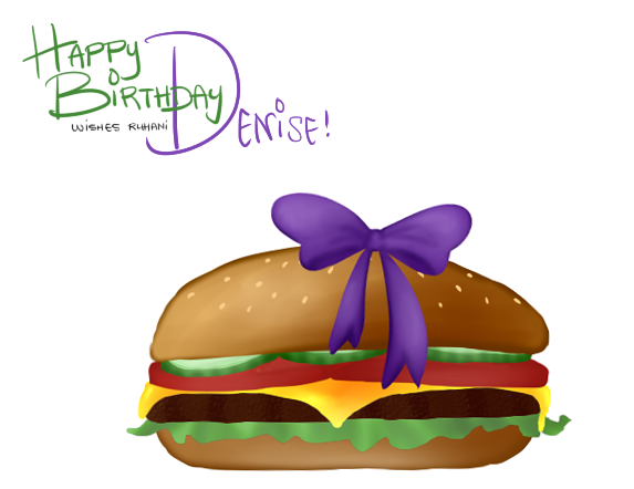 Happy birthday, Denise! :D  She said that all she wanted for her birthday was a burger with a ribbon on it, so that's what I drew for her! And maybe when I see her again when school starts, I'll get her a real burger with a ribbon on it.. :0