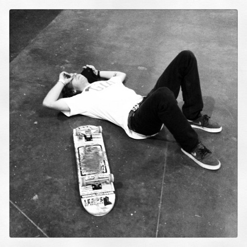 defeated. @_corkey after putting in work on the board! #skateboarding #weekend #rampit #blackandwhite #defeat (Taken with Instagram)