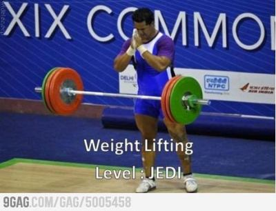 9gag:  Weight Lifting Jedi