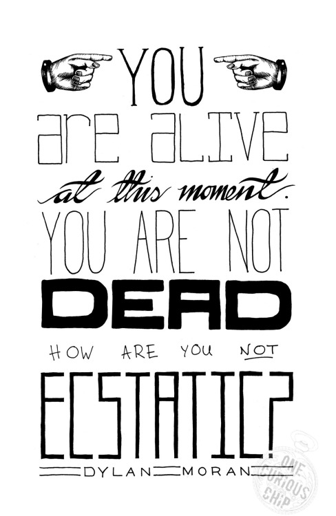 onecuriouschip:  You Are Alive at this Moment  A fantastic quote from Irish Comedian, Dylan Moran. Available as T-Shirts & Other Things. :)