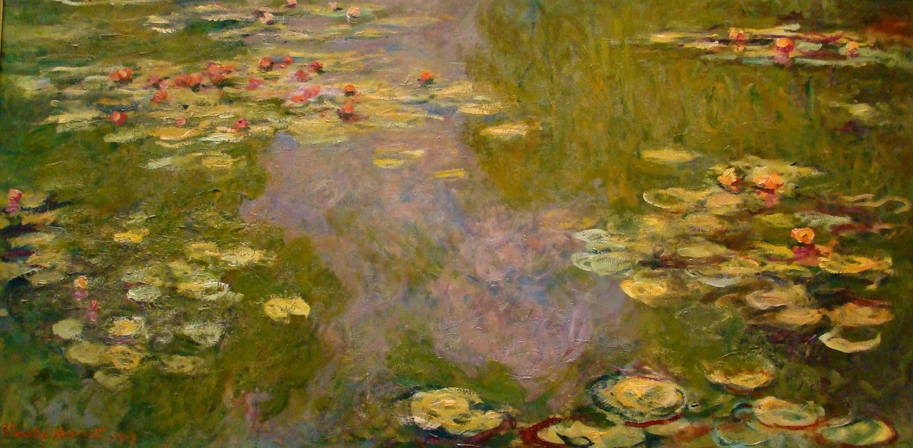 Claude Monet  |  Water Lilies, 1919, Oil on canvas, 39 3/4 x 78 3/4 inches Metropolitan Museum of Art