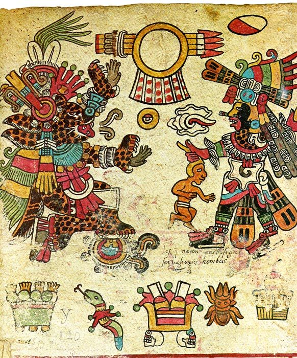 dwellerinthelibrary:  Tepeyollotl (left) and Quetzalcóatl