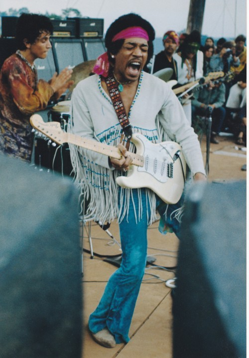 Jimi Hendrix at Woodstock, 1969.