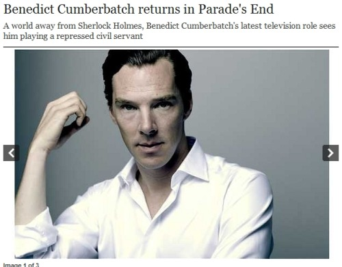 cumberqueen:   (Great interview!) Benedict Cumberbatch has fallen in love with an overweight civil servant called Christopher. 'I am enamoured of his principles, his virtue and the goodness he stands for,' he says, grinning the wonky grin of the hopelessly smitten. 'I love him. I really do think that Christopher Tietjens is the character I'm most fond of ever having played.'   Read More
