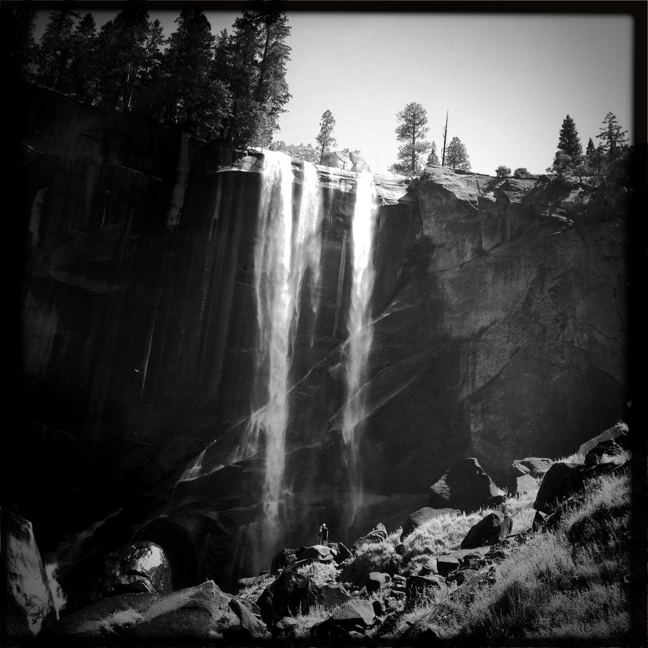 Vernal Falls, Yosemite. Yes taken with the hipstamatic alongside a dozen tourists lugging 70-200 lenses. Is their photo better? Sure definitely better rez. But what are they going to do with that image? I enjoyed my day shooting with my Lumix GX1 and my iPhone and my back isn't broken. Am I going to sell these images? Maybe not, but I may make a cool collage for the kitchen.