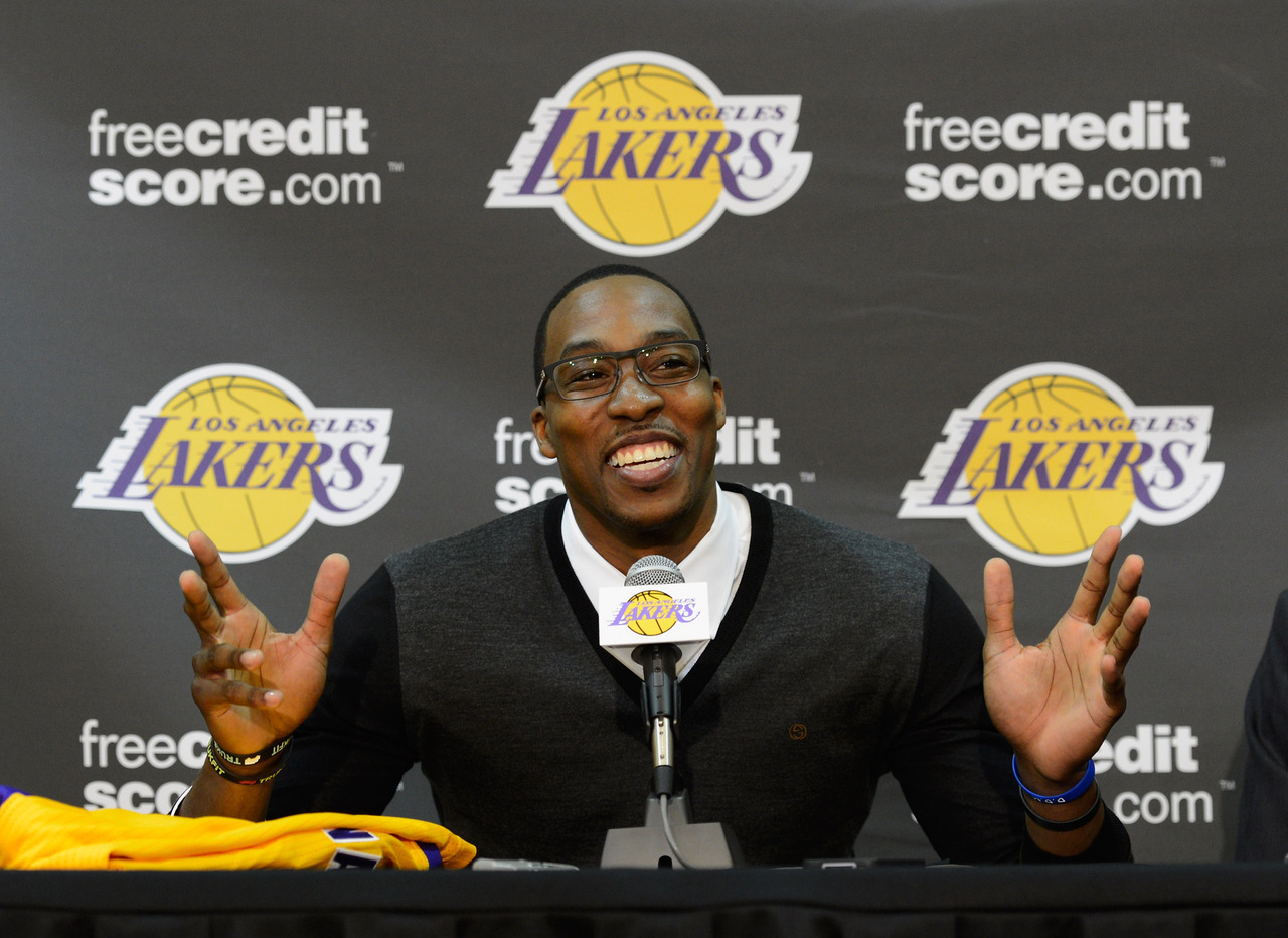 nba:  August 10, 2012: LA Lakers introduce Dwight Howard.  (Photo by Kevork Djansezian/Getty Images)
