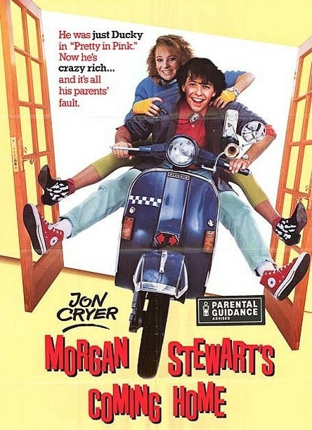 Morgan Stewart's Coming Home (1987)  After seven years in boarding school, Morgan Stewart is finally coming home. He discovers it's not the same happy home it used to be, so he decides to reform his social climbing, politically inclined parents and things get a little out of control.  Cast: Jon Cryer, JD Cullum, Robert Sedgwick Follow this blog for the neverending list of all the teen movies ever made!