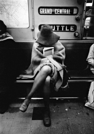 superseventies:  A woman on the subway, New York City, 1970s.