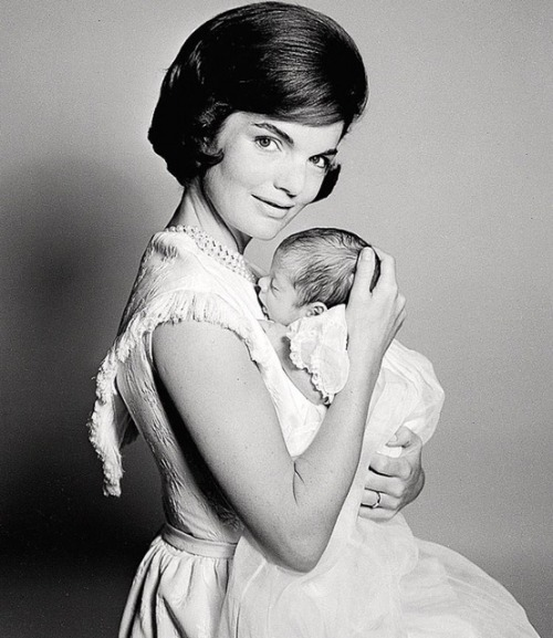Jackie Kennedy with baby John F. Kennedy Jr., 1960.