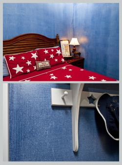 This denim finish is on the walls of a boy's room in Denver, CO. It is a Ralph Lauren finish and, as a result of this project, I will never use a Ralph Lauren faux product again (his tools are nice as long as you don't have to rely on the instructions to teach you how to use them).  I know I was not the only one to struggle with this 'denim glaze' as the product was discontinued shortly after I completed this. The glaze was water based which means that it dried quickly. The instructions suggested doing three foot wide bands of the finish at a time and over lapping them a half an inch; thus creating 'seams'. The picture on the packaging had none of these seams so the client was disappointed with them. She wanted entire walls painted in a single go so there were three of us, water misters in hand climbing over each other trying to paint, scratch off the glaze and keep it wet all simultaneously. It was a nightmare. In hindsight I should have given up on Ralph and remixed the color into an oil glaze but it still would have been difficult (and far more toxic). I do love this room in spite of the headaches it gave me… I think it is a 'success against all odds' thing.