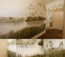 I recently painted this mural for a grand new home in Denver, CO. This is in the hallway outside the grand daughters' wing of the home. The door at the far end of the hall leads to the bedroom and bath and the door in the tree is to the playroom. This was mural was inspired by the work of Michael Sowa. The overall feel of the mural and especially the giraffe in the boat are direct references to his great illustrations. The girls on the dock are the owner's grand daughters and the dog, their gorgeous dog.  http://www.facebook.com/pages/Michael-Sowa/19796724855