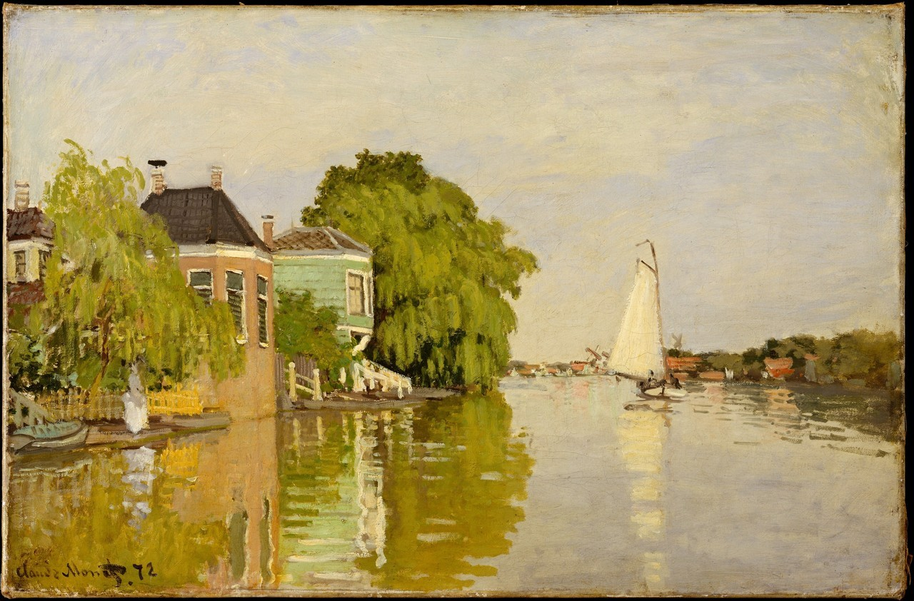 Claude Monet - Houses on the Achterzaan, 1871. Oil on canvas  From the Metropolitan Museum of Art, NYC:  This light-filled, en plein air scene is one of twenty-four landscapes that Monet painted during his sojourn in the Netherlands in 1871. Painted near the village of Zaandam, the Achterzaan river occupies the foreground of the painting while windmills and industrial buildings can be seen in the distant background. The water reflects the multi-colored houses and willow trees that line the river bank as well as a white sail boat that floats along the water. A woman dressed in a white diaphanous gown stands beneath a willow tree on the left, gazing by the water. Employing a distinctly blonde color palette reminiscent of that used by landscape painter Corot, Monet renders this scene with attention to atmospheric detail and palpable light. This painting also evokes a sense of leisure and pastoral beauty typical of Dutch seventeenth century paintings that Monet would have seen during his stay in Holland. The artist's color palette, portrayal of leisurely pursuits, and increasing attention to the surface of the canvas—all practices that Monet explored during his stay in Holland—were significant and influential in the development of his increasingly modern approach to painting.Monet postdated this work, marking the canvas in his studio in the year after it was painted. The fact that Monet held on to the canvas for many years after he completed it contributes to the pristine condition of the unlined, unvarnished painting.
