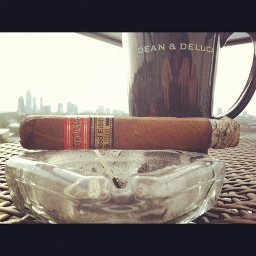 On my #patio this #Saturday #AM #enjoying a #breakfast of #champions » #Perdomo (2) #Limited #Edition #2008 that I purchased at the #Maduro #cigar #bar & #lounge in #LIT | #ATL #Atlanta #toro # (Taken with Instagram at White Provision Residences)
