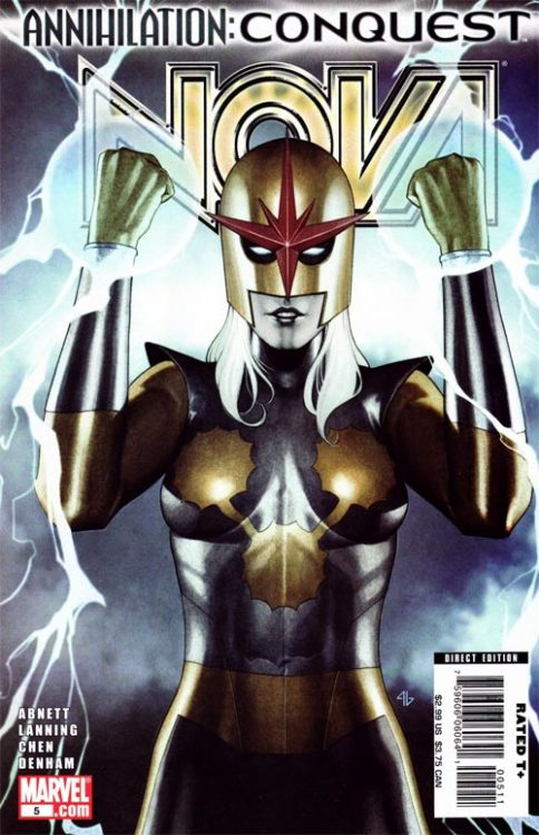 Nova v4 #5, October 2007, written by Dan Abnett and Andy Lanning, penciled by Sean Chen and Brian Denham