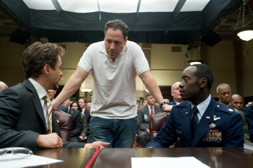fuckyeahdirectors:  Robert Downey Jr, Jon Favreau and Don Cheadle on-set of Iron Man 2 (2010)